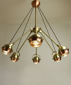 Lámpara cobre y latón 6 luces lupa